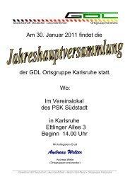 Frankfurt/Main, Januar 2000 - GDL Ortsgruppe Karlsruhe