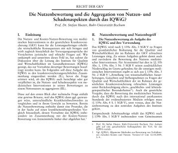Die Nutzenbewertung und die Aggregation von Nutzen- und ...