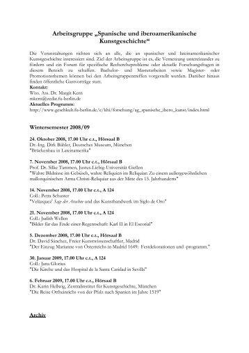 Spanische und iberoamerikanische - Freie Universität Berlin