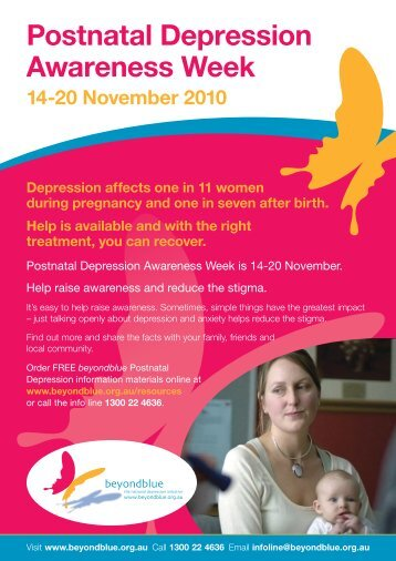health promotion post natal depression Depression after childbirth is called postnatal (or postpartum) depression it is quite similar to the kind of depression that can affect people in any phase of life it is quite similar to the kind of depression that can affect people in any phase of life.