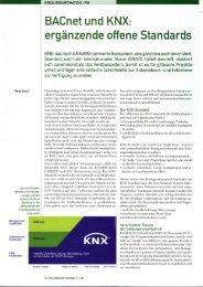 Bacnet und KNX= ergä n zen de offene Stan dards - bei KNX Swiss