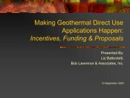 Making Geothermal Direct Use Applications Happen: Incentives ...