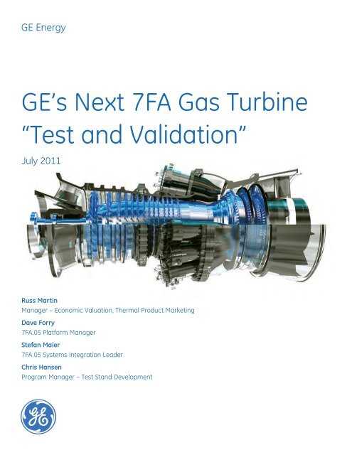 7fa Gas Turbine Test And Validation Gea18457a Ge Energy