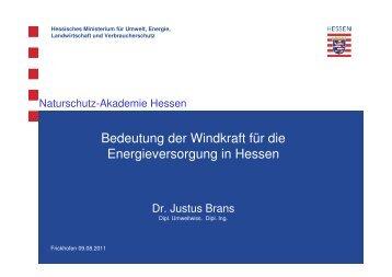 Bedeutung der Windkraft für die Energieversorgung in Hessen