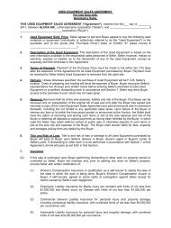 USED EQUIPMENT SALES AGREEMENT For Use Only with ...