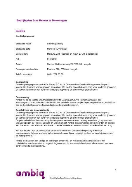 bedrijfsplan zorg Bedrijfsplan Erve Reimer te Deurningen   GISnet