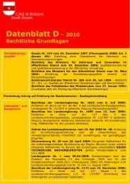 Datenblatt D - Stadtgemeinde Bozen