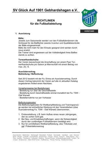 Richtlinien für die Fußballabteilung - glueck-auf-gebhardshagen.de