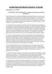 COMMUNIQUE DE PRESSE CONJOINT N° 001 ... - Global Witness