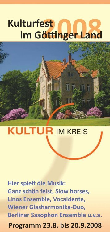 Programm Kultur im Kreis 2008 - Galerie Göttinger Land