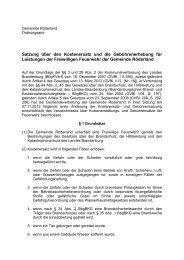 Satzung über den Kostenersatz für Leistungen der FFw - Gemeinde ...