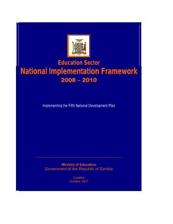 Zambia's Education Sector National Implementation Framework ...