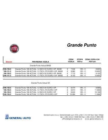 Grande Punto cenovnik - General-auto