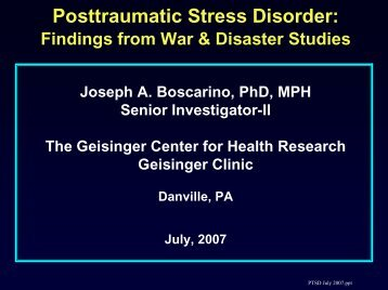 Posttraumatic Stress Disorder: - Geisinger Health System
