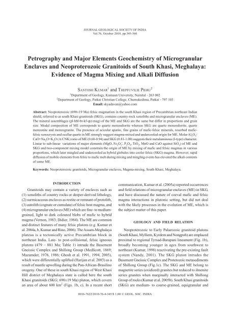 Petrography and Major Elements Geochemistry of Microgranular ...