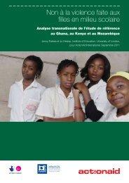Non à la violence faite aux filles en milieu scolaire - ActionAid ...