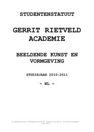 Laatste aanpassing studentenstatuut Gerrit Rietveld Academie 1998
