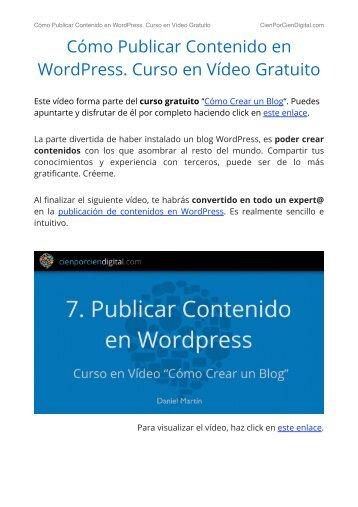Cómo Publicar Contenido en WordPress. Curso en Vídeo Gratuito