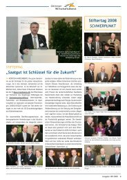 """""""Saatgut ist Schlüssel für die Zukunft"""" Stiftertag 2008 SCHWERPUNKT"""