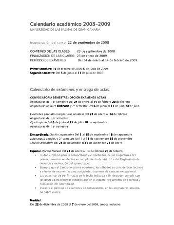 Calendario académico 2008 Calendario académico 2008-2009