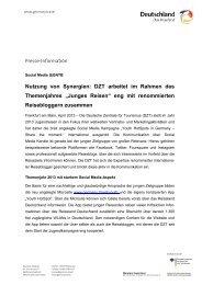 Nutzung von Synergien: DZT arbeitet im Rahmen ... - Germany Travel