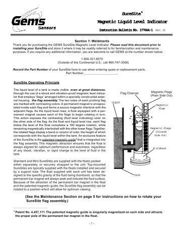 SureSite® Magnetic Liquid Level Indicator - Gems™ Sensors ...