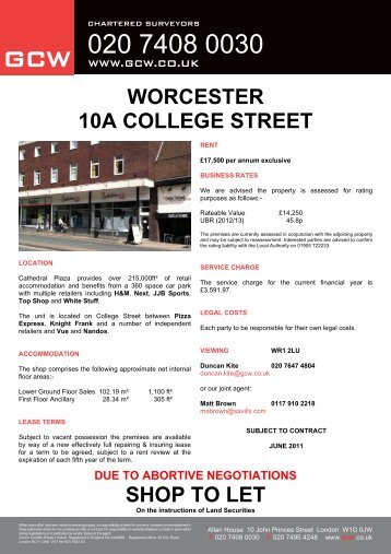 WORCESTER 10A COLLEGE STREET SHOP TO LET - GCW