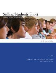 Selling Students Short - The American Council of Trustees and Alumni