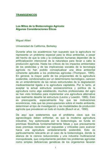 TRANSGENICOS Los Mitos de la Biotecnología Agrícola - Gran ...