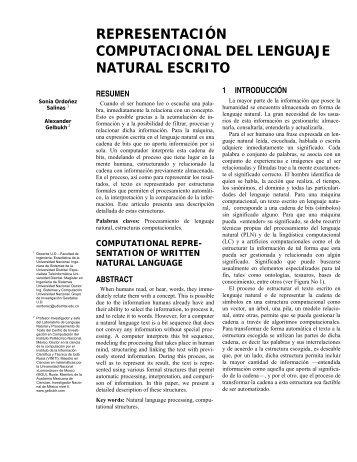 representación computacional del lenguaje natural escrito - Instituto ...