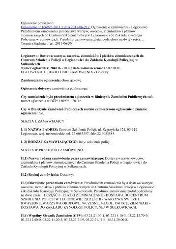 og³oszenie o udzieleniu - Zamówienia publiczne CSP - Centrum ...