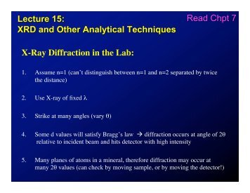 Lecture 15: XRD and Other Analytical Techniques X-Ray Diffraction ...