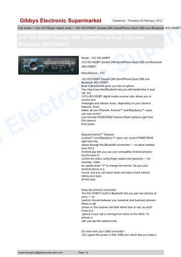 jvc kdx50bt owners manual
