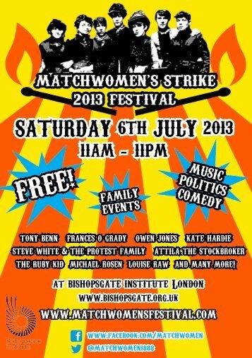 Matchwomens Strike 2013 Festival - GMB