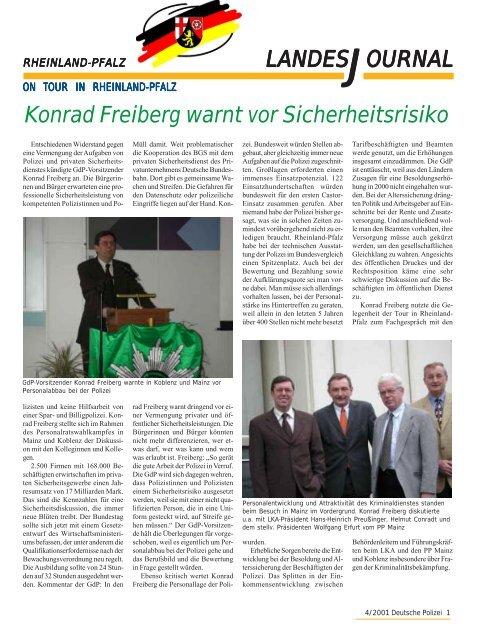 Journal April 2001 - gdp-deutschepolizei.de
