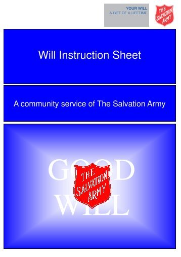 Will Instruction Sheet - The Salvation Army