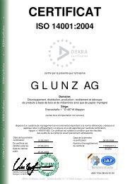 CERTIFICAT - Die Glunz AG