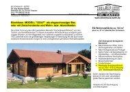 Blockhaus MODELL GOLF als eingeschossiger ... - Blockhaus Barth