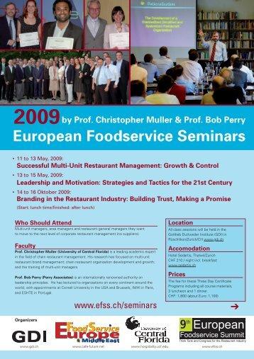 European Foodservice Seminars 2009 - Gottlieb Duttweiler Institut
