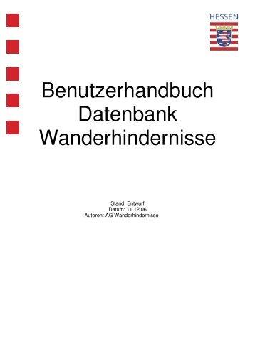 Benutzerhandbuch Datenbank Wanderhindernisse