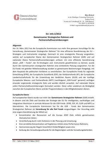 EU- Info 2/2012 Gemeinsamer Strategischer Rahmen und ...