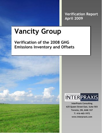 Verification Report (2008) - english - CSA's GHG Registries