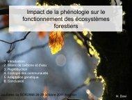 Impact de la phénologie sur le fonctionnement des écosystèmes ...