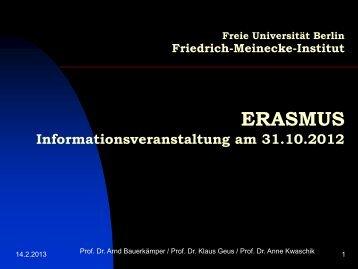 ERASMUS - Fachbereich Geschichts - Freie Universität Berlin
