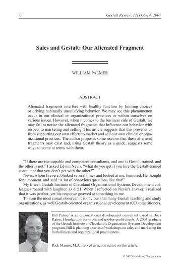 Sales and Gestalt: Our Alienated fragment - Gestalt International ...