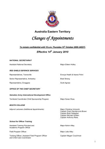 Changes of Appointments - The Salvation Army