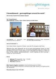 """Fotowettbewerb: """"geniusgöttingen around the world"""""""
