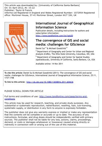 The convergence of GIS and social media: challenges for GIScience