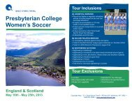 PC Women's Soccer Trip Itinerary - Presbyterian College Athletics