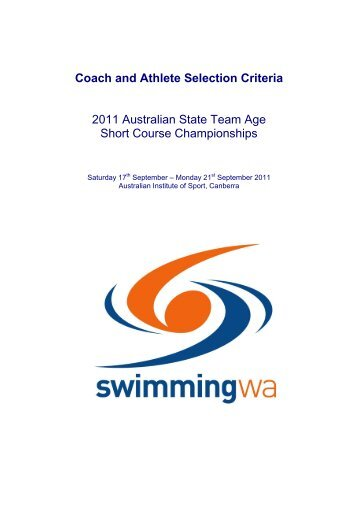 Coach and Athlete Selection Criteria - Swimming WA - Swimming ...